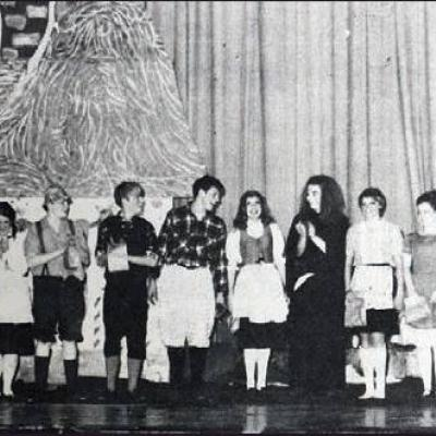 """FIFTY YEARS ago this week, the curtain call on the high school production """"Hansel and Gretel"""" was pictured in the Times. The cast of Greg Hirsch, Sande Wahl, Joyce Houchin, Jean Gruber, Brent Block, Chip Bullock, Stebbins Dean, Lynda Kampke, Kim Kirkp"""